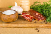 Bacon and spices — Stock Photo