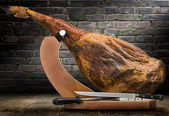 Iberian ham isolated — Stock Photo