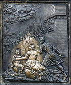 Detail from martyrium of st. john, Charles bridge in Prague — Stock Photo