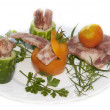 The creative food with fresh vegetables and meat - Foto Stock