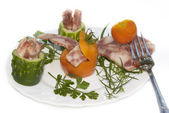 The creative food with fresh vegetables and meat — Stock Photo