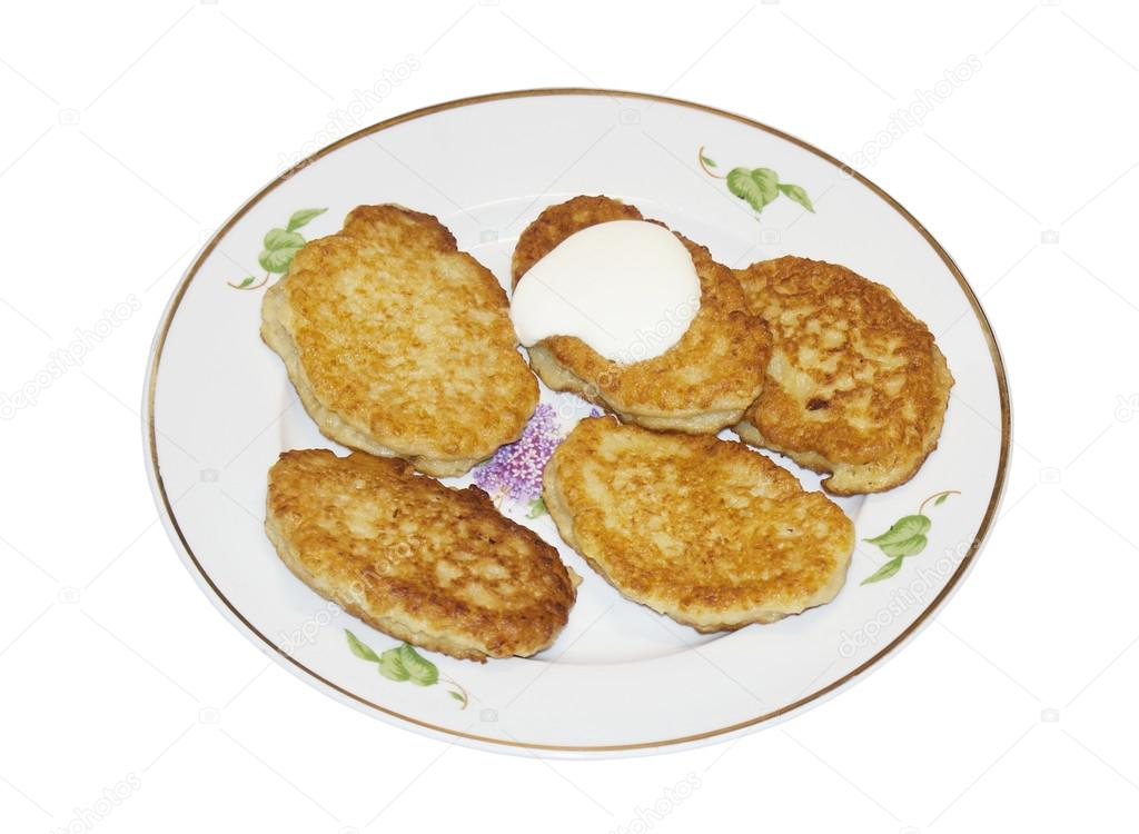The pancakes with sour cream  Stock Photo #12293250
