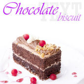 Sweet chocolate biscuit with fresh cherry — Stock Photo
