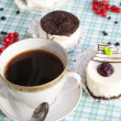 The morning black coffee with fresh cake - Stock Photo