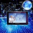 Creation innovative of the newest telecommunication and the computers Internet of technologies — Stock Photo