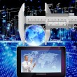 Creation of the newest telecommunication and the Internet  future - Stockfoto