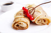 The fried pancakes with meat — Stock Photo