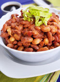 Baked string bean with tomato sauce — Stock Photo
