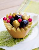 Creative vegetarian dessert of olives — Stock Photo