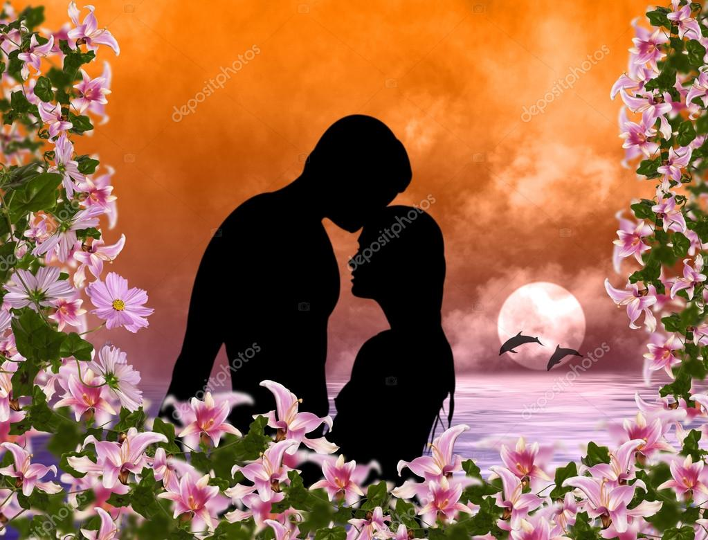 Loving couple on a tropical marine sunset.Romance  Stock Photo #14952203