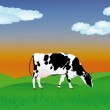 Dairy cow over summer green meadow.The rural landscape — Stock Vector