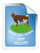 Natürliche milchprodukte etikett mit cow.vector abbildung — Stockvektor