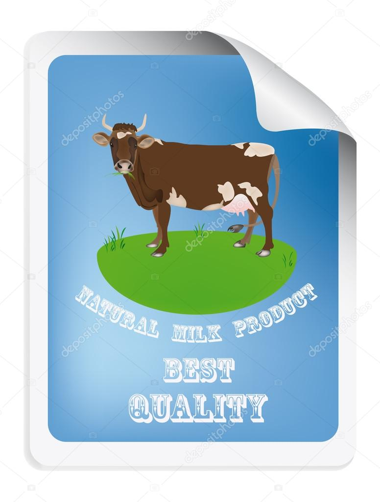 Natural dairy label with cow.Vector illustration — Stock Vector #16284227