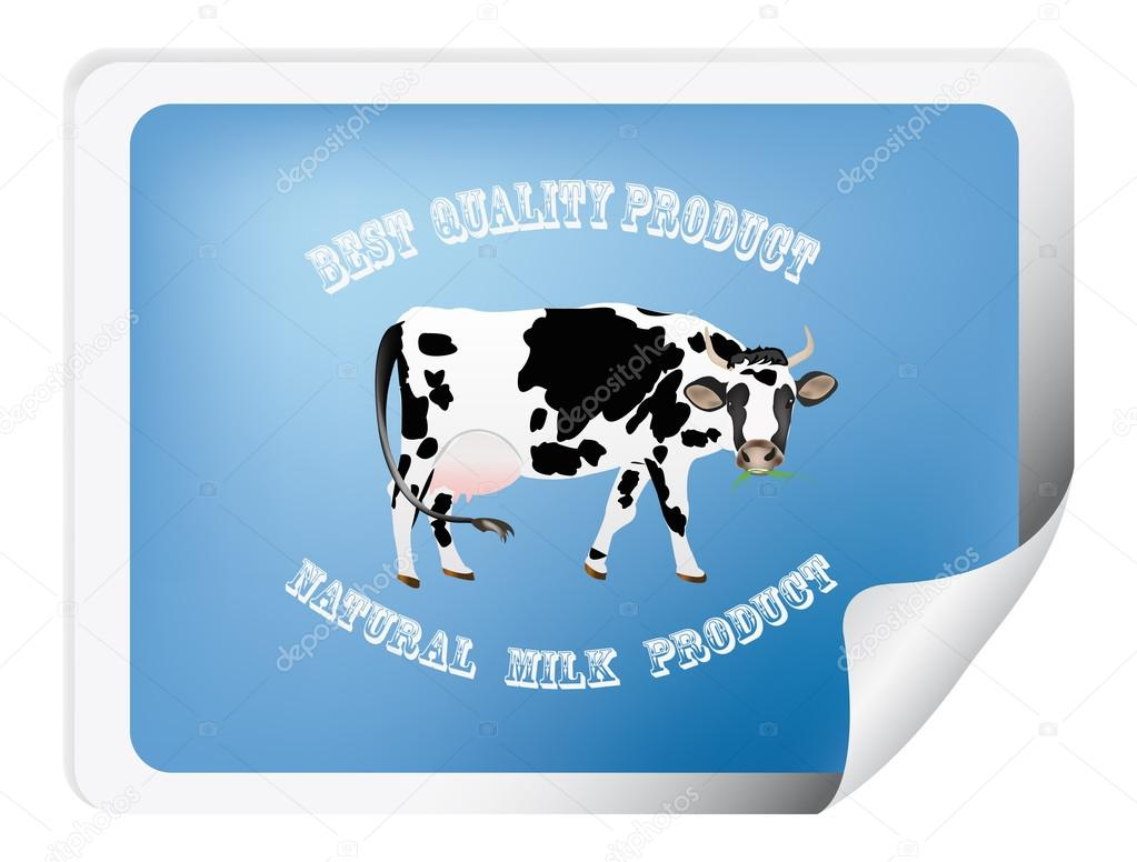 Natural dairy label with cow.Vector illustration — Stock Vector #16287283