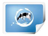 Rótulo com uma vaca — Foto Stock