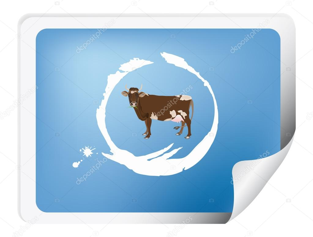 Label with a cow for packaging dairy products — Stock Photo #16291229