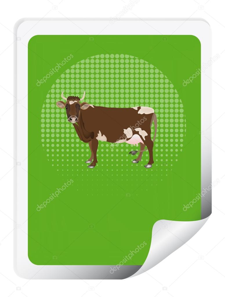 Sticker with a cow for packaging dairy products — Stock Photo #16297949