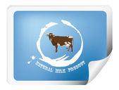 Popisek s krávou pro balení mléčných products.vector — Stock vektor