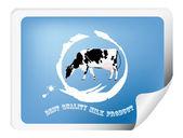 Etikett mit einer kuh für die verpackung von milch products.vector — Stockvektor