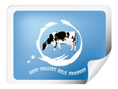 Label with a cow for packaging dairy products.Vector — Cтоковый вектор
