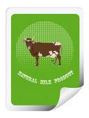 Adesivo com uma vaca para embalagem de produtos lácteos products.vector — Vetorial Stock