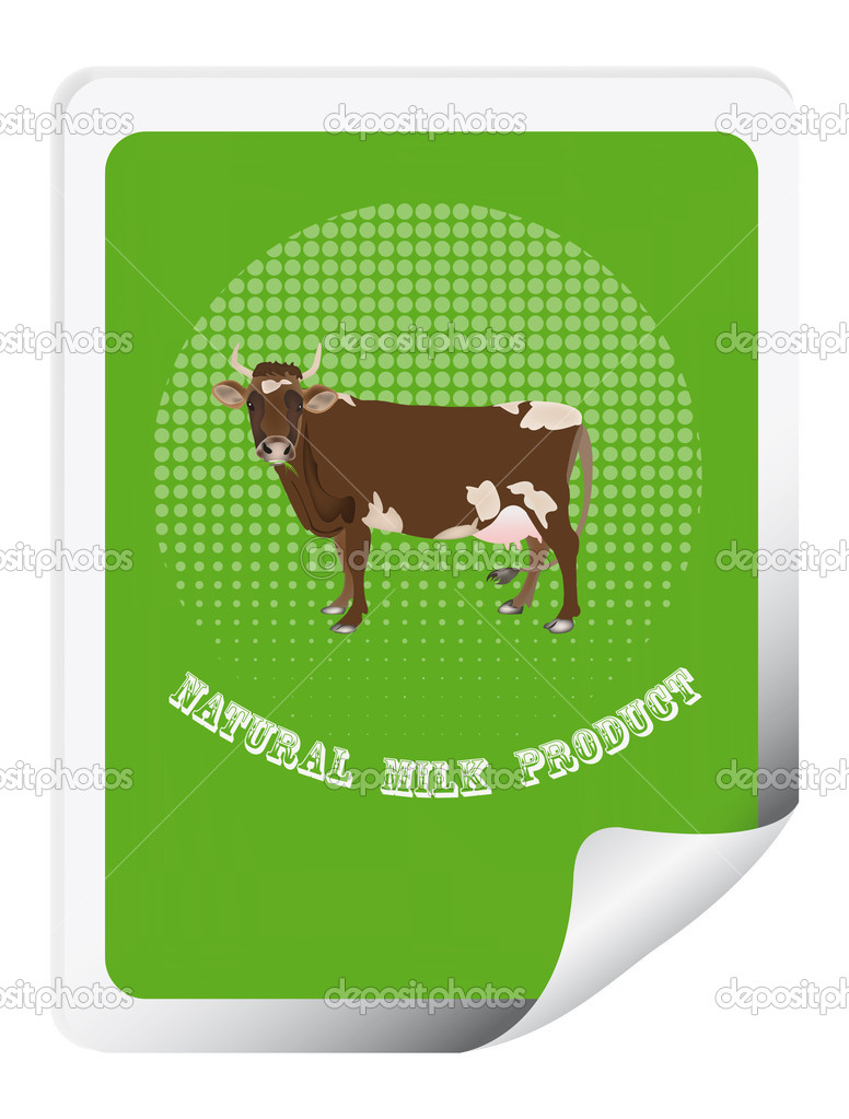Sticker with a cow for packaging dairy products.Vector — Stock Vector #16297943