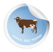 Naklejki z krową do pakowania mleka products.vector — Wektor stockowy