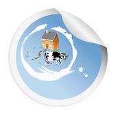 Nálepka s krávou pro balení mléčných výrobků — Stock fotografie