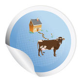 Sticker with a cow — Stock Photo