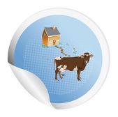 牛とステッカー — ストック写真