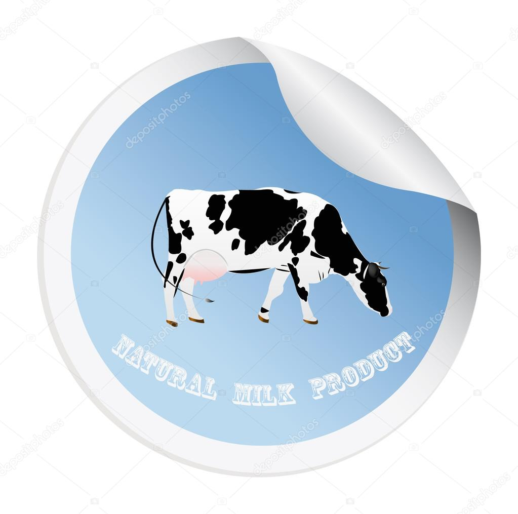 Sticker with a cow for packaging dairy products.Vector — Stock Vector #16311051