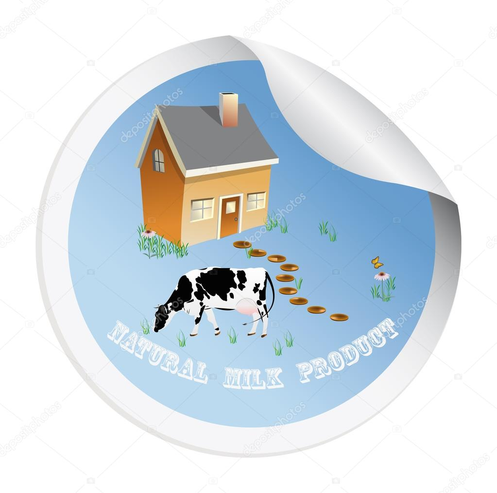 Sticker with a cow for packaging dairy products — Векторная иллюстрация #16313747