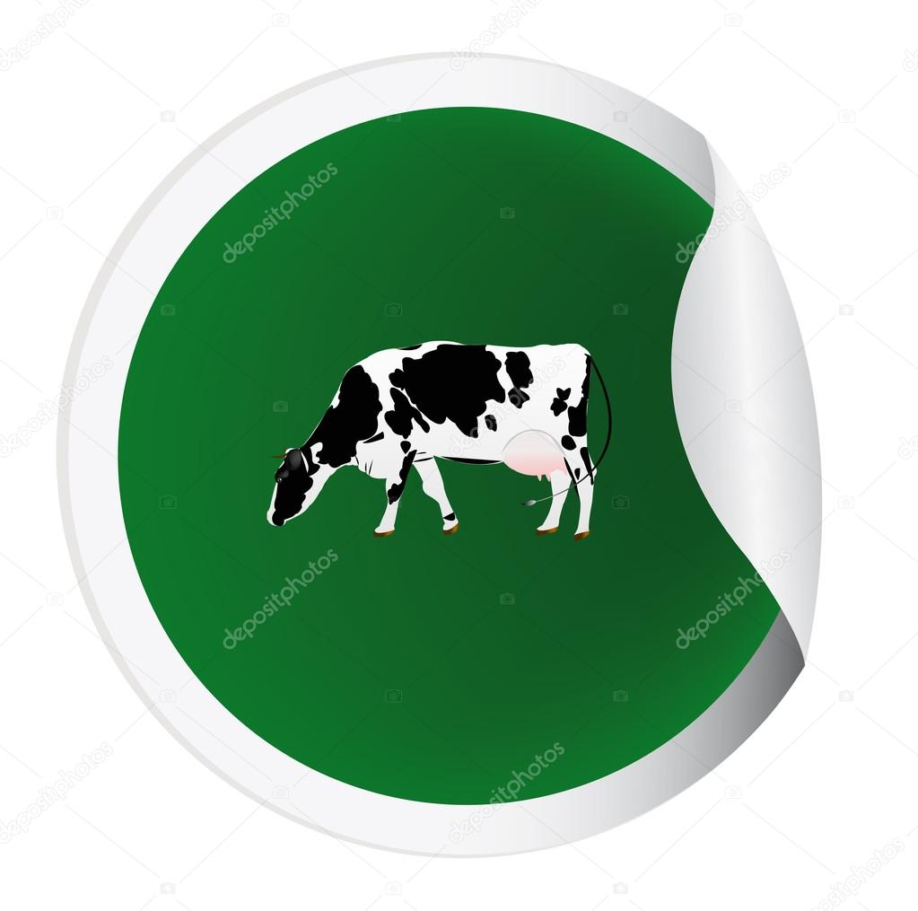 Sticker with a cow for packaging dairy products — Stock Photo #16331039