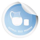Sticker met een verse melk voor het verpakken van zuivelproducten — Stockvector