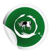 Sticker met een koe voor het verpakken van zuivel products.vector — Stockvector