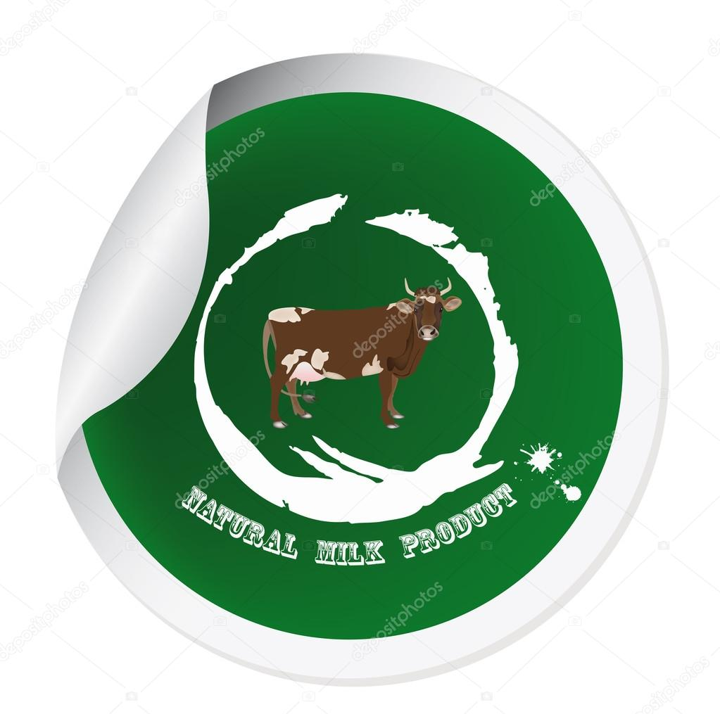 Sticker with a cow for packaging dairy products.Vector — Stockvectorbeeld #16331037
