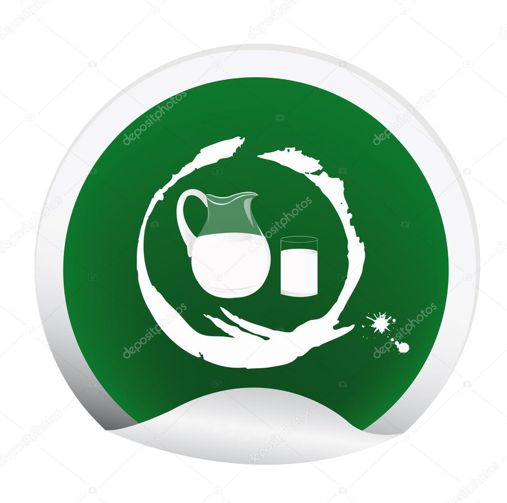 Sticker with a fresh milk for packaging dairy products.Vector — Stockvectorbeeld #16331353