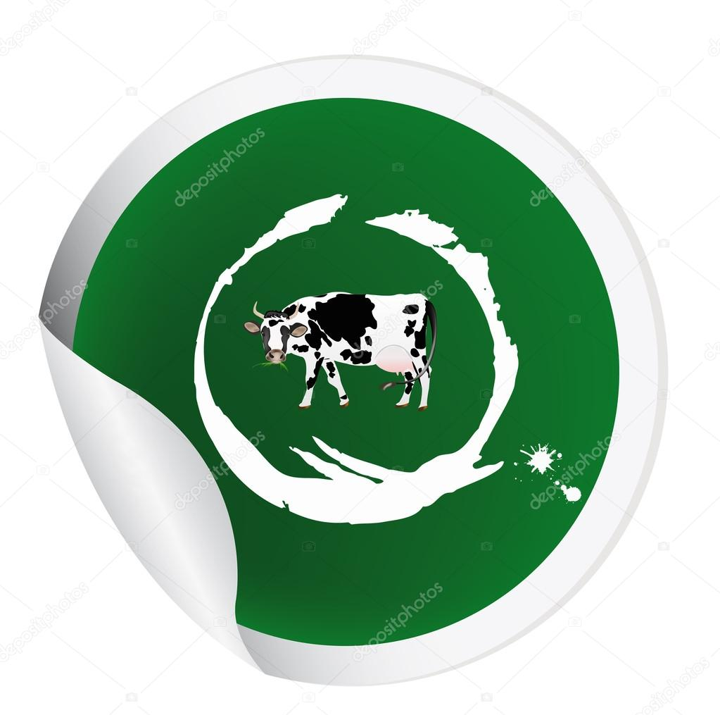 Sticker with a cow for packaging dairy products.Vector — Stock Vector #16331591
