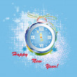 New Years clock on a abstract background — Stock Photo #16885595