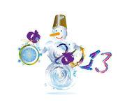 Muñeco de nieve y nuevos votos afirmativos clock.vector ilustración eps10 — Vector de stock
