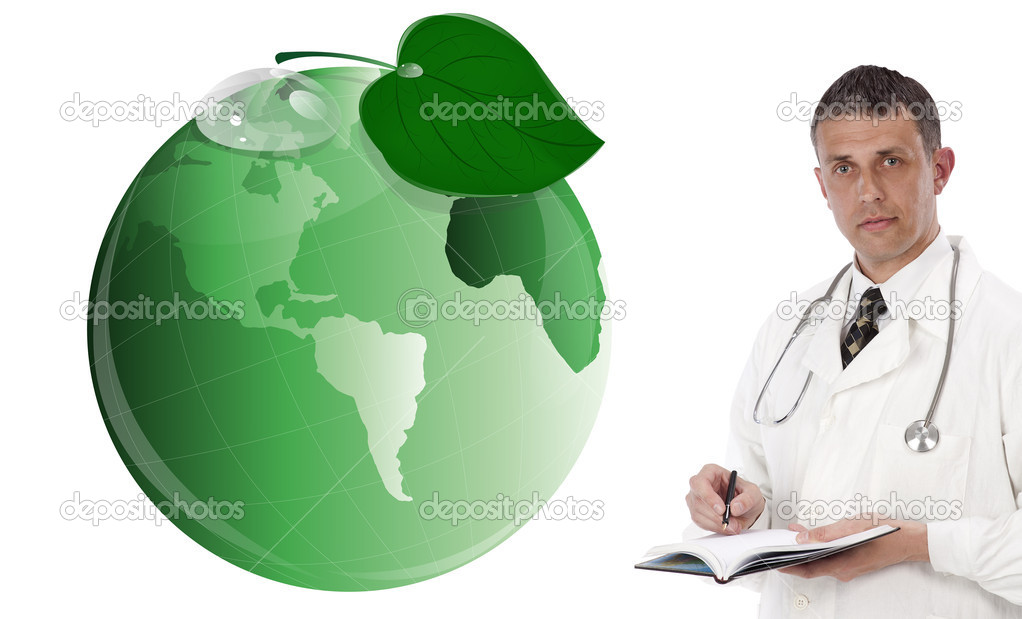Ecology concept. Green planet and innovative medicine — Stock Photo #17446539