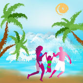 Happy Family rest on exotic tropical island — 图库照片