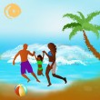 Happy Family rest on exotic sea resort — Stock Photo