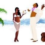 voyage romantique sur une île tropicale exotique — Photo