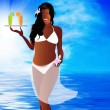 Sexy woman creole and fresh juice orange and lime — Stock Photo #18695409