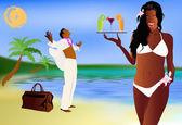 Summer romantic travel on exotic tropical island — Stock Photo
