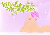 Körperpflege. spa-konzept. weibliche cosmetology.vector — Stockvektor