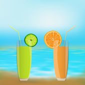 Fresh juice orange and lime — Stock Photo