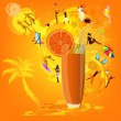 Stock Vector: Fresh juice orange.Summer exotic rest.Vector