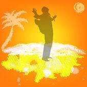 экзотический отдых на тропический курорт.аннотация желтый фон — Cтоковый вектор